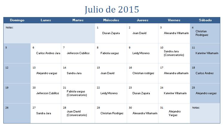Mes De Julio Calendario.Calendario Devocionales Mes De Julio